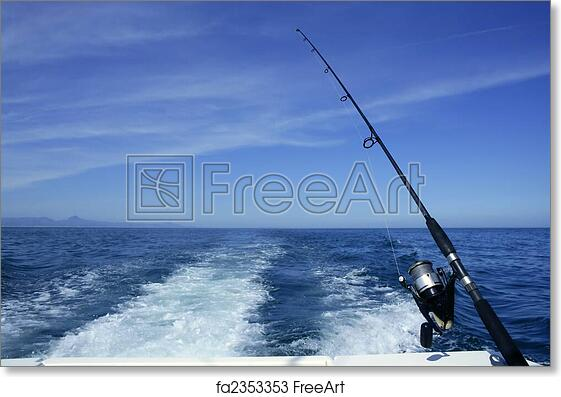 Free Art Print Of Fishing Rod And Reel On Boat Fishing In Blue