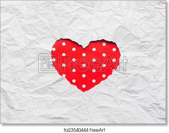 Free Art Print Of White Torn Paper In Heart Shape Symbol White Torn