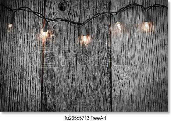 Free Art Print Of White Christmas Tree Lights With Rustic Wood Background
