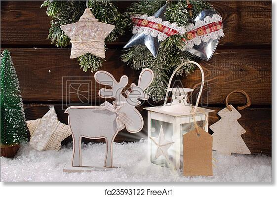 free art print of winter scene with wooden reindeer and lantern for christmas - Wooden Deer Christmas Decorations