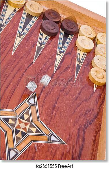 image regarding Printable Backgammon Board identified as No cost artwork print of 2 dices slipping upon picket home made backgammon board with chips and upon white record