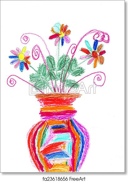 Free art print of Childrens drawing of a colorful bouquet