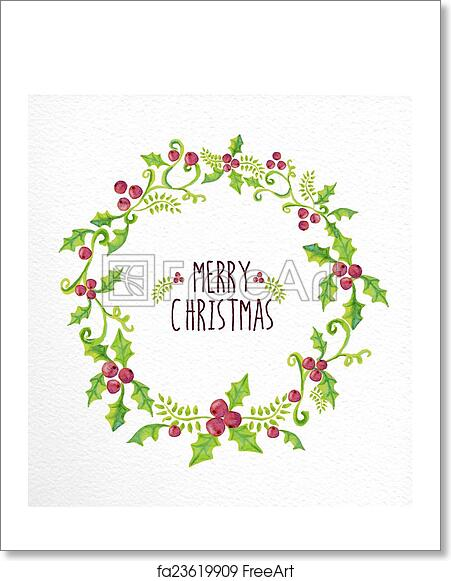 Free Merry Christmas Images.Free Art Print Of Merry Christmas Watercolor Holly Berry Wreath Card