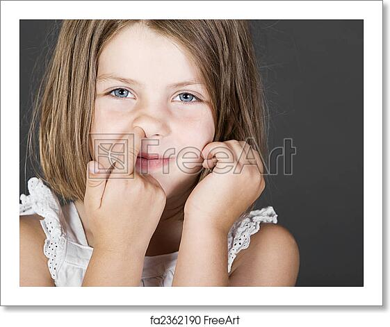 Free Art Print Of Shot Of A Cute Blonde Child Picking Her Nose