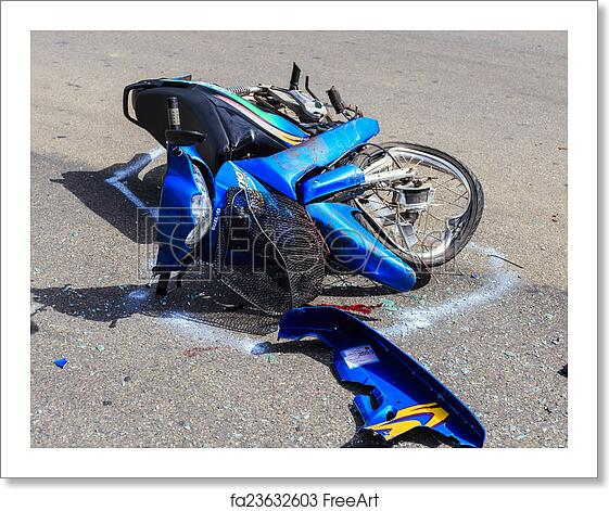 Free art print of SURATTHANI - JULY 18: Motorcycle accident on the road and  crash