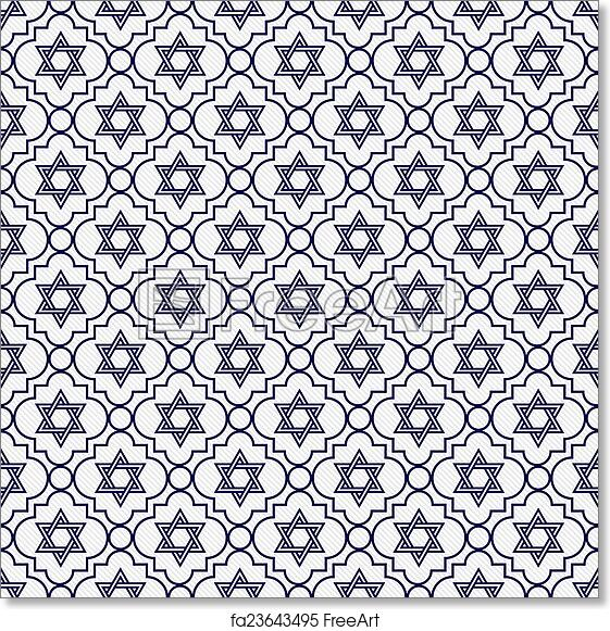 Free Art Print Of Navy Blue And White Star David Repeat Pattern Background