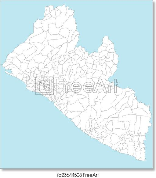 Free art print of Map of Liberia A large and detailed map of