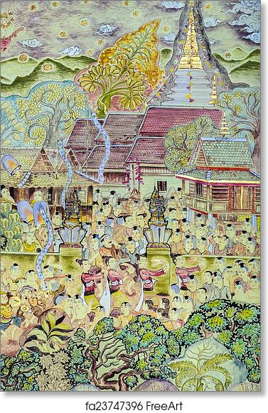 image about Printable Mural known as Absolutely free artwork print of Thai mural portray artwork of Lanna Buddhist competition