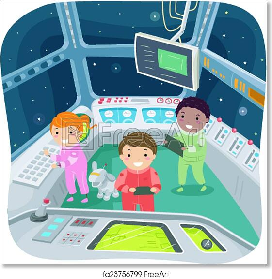 Free Art Print Of Stickman Kids Spaceship Control Room Illustration