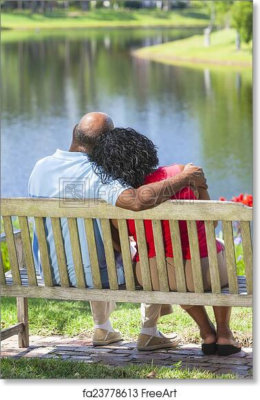 Free Art Print Of Senior African American Couple Sitting On Park