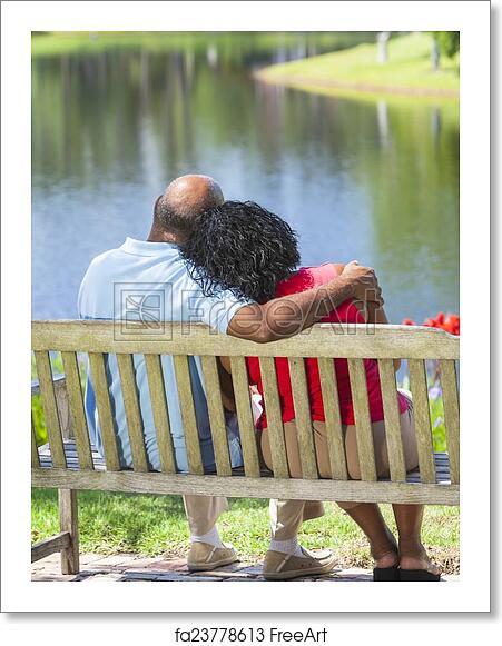 Free Art Print Of Senior African American Couple Sitting On Park