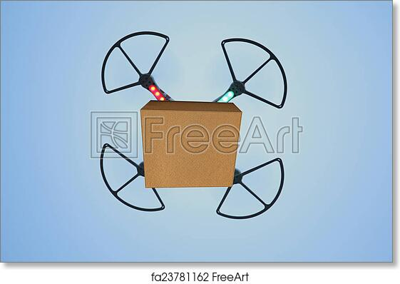 Free art print of Air drone carrying carton box for fast delivery concept