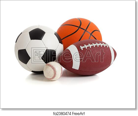 Free Art Print Of Assorted Sports Balls On White