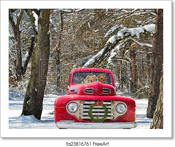 Free Christmas Tree Pick Up: Free Art Print Of Dogs In Red Christmas Truck. Golden