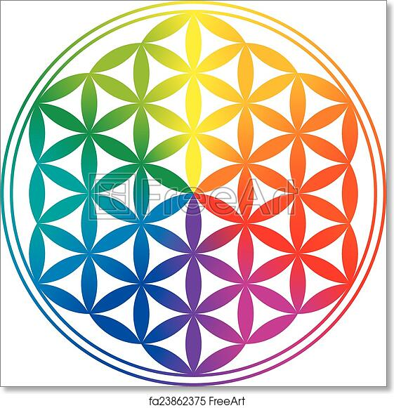Free Art Print Of Flower Of Life Rainbow Gradients Flower Of Life