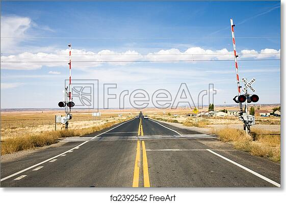 Free art print of Railroad crossing with gates