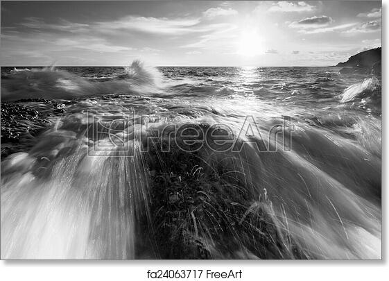 Free Art Print Of Beautiful Sunset At The Stone Beach In Black And White