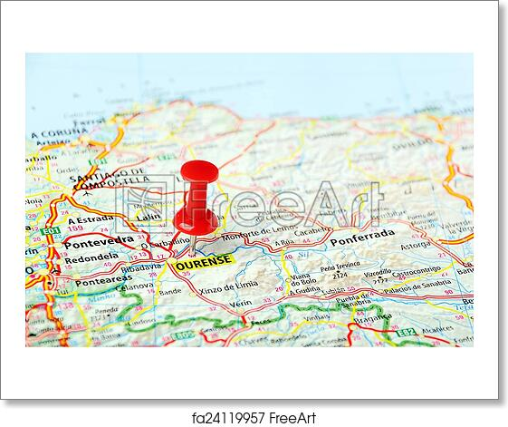 Map Of Spain To Print.Free Art Print Of Ourense Spain Map