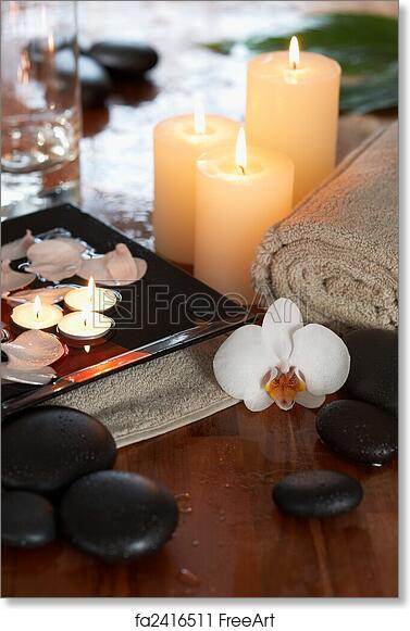 free art print of relaxing spa with candles orchids towels and