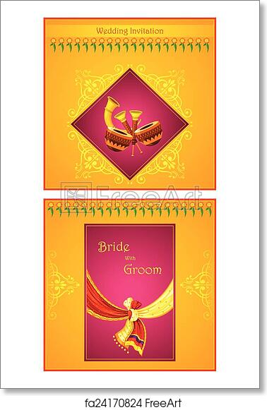 Free Art Print Of Indian Wedding Invitation Card Vector