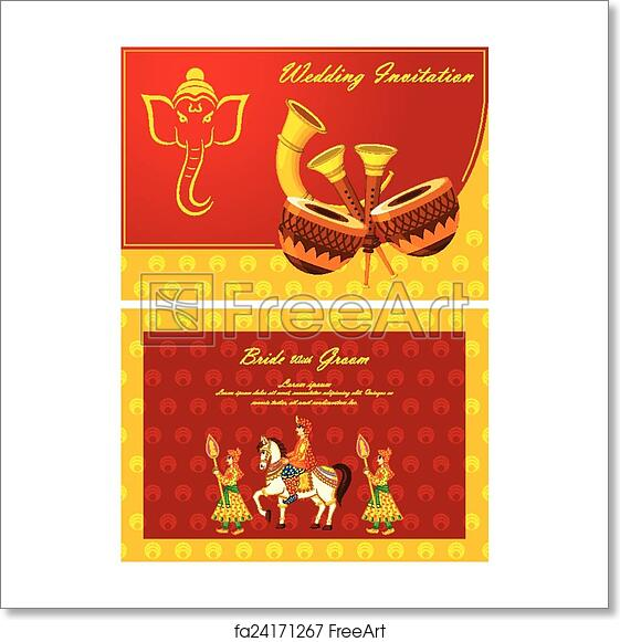 Free Art Print Of Indian Wedding Invitation Card