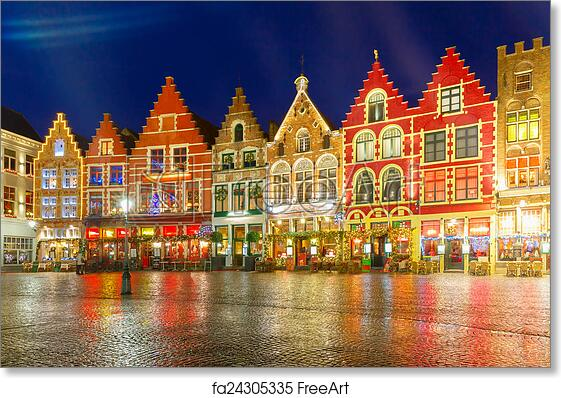 Bruges Christmas.Free Art Print Of Christmas Old Market Square In The Center Of Bruges Belgium