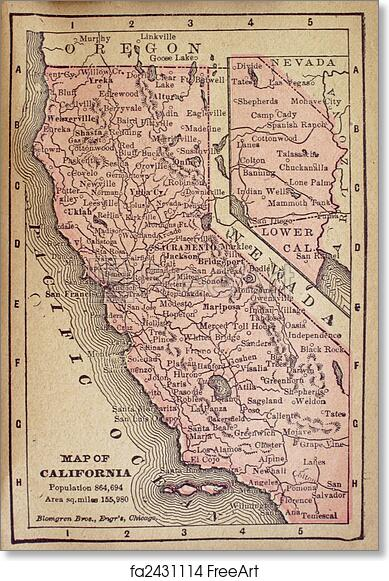 picture relating to Free Printable Vintage Maps referred to as Free of charge artwork print of Outdated California Map