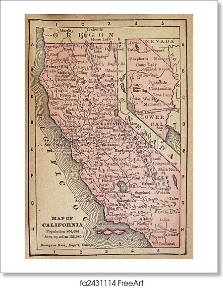 Free Art Print Of Old California Map Old Map Of California Showing