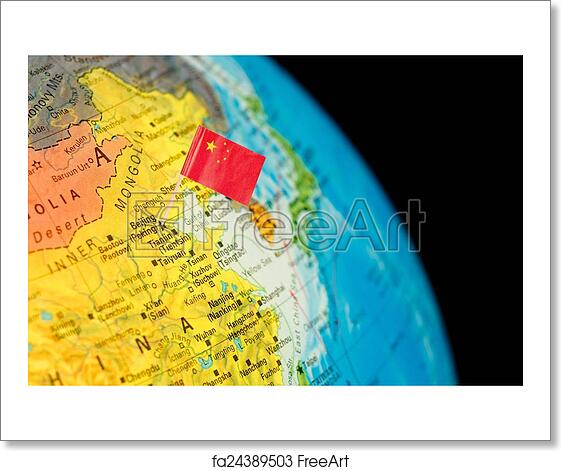 Free art print of Map with flag of China