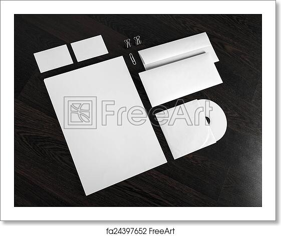 free art print of id template on wooden background blank stationery