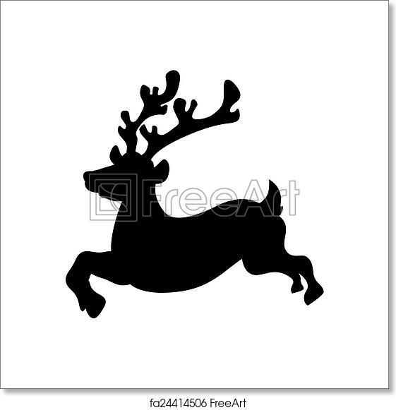 Christmas Reindeer Silhouette.Free Art Print Of Running Reindeer Silhouette