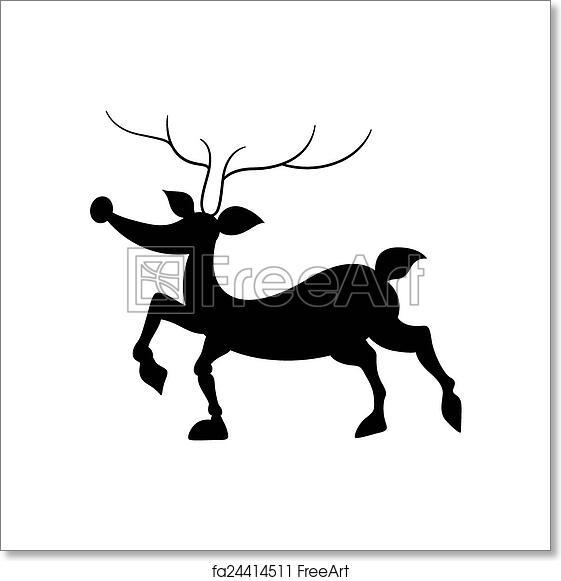 Christmas Reindeer Silhouette.Free Art Print Of Funny Reindeer Silhouette