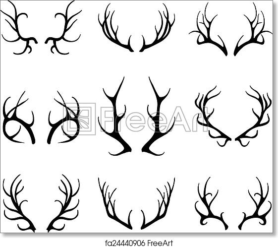 photo regarding Printable Deer Antlers known as Totally free artwork print of Vector deer antlers isolated upon white