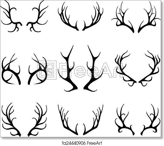 photo regarding Printable Deer Antlers known as Totally free artwork print of Vector deer antlers isolated upon white