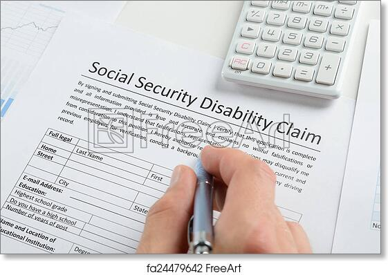 picture relating to Printable Social Security Disability Forms called No cost artwork print of Unique Hand With Pen Filling Social Protection Disability Style