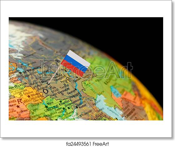 Free art print of globe map detail russia with russian flag map free art print of globe map detail russia with russian flag gumiabroncs Images