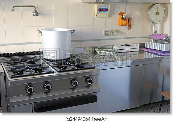 Marvelous Free Art Print Of Industrial Kitchen With Gas Stove And The Giant Aluminum  Pot