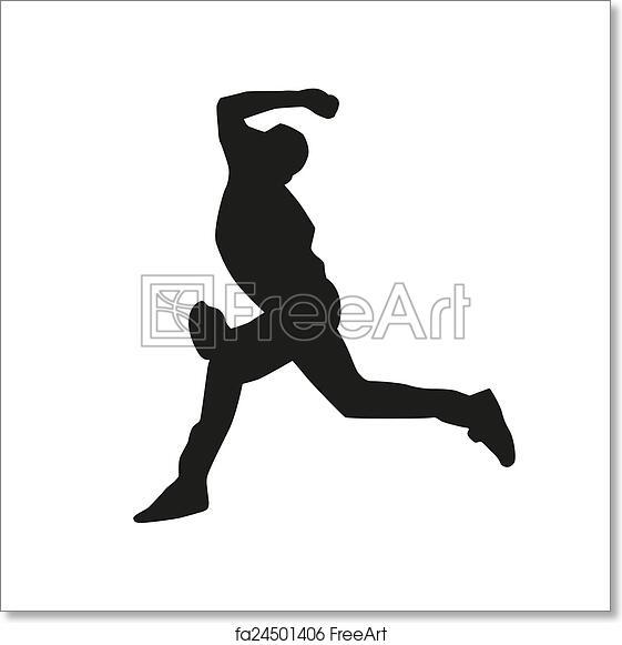free art print of baseball pitcher vector silhouette freeart