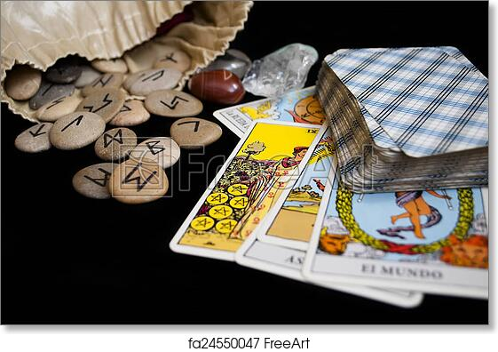 picture about Free Printable Tarot Cards called Cost-free artwork print of Runes and tarot playing cards