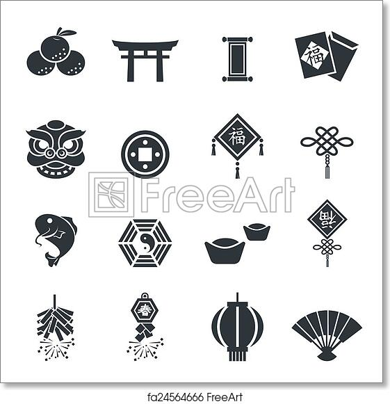 free art print of chinese new year icons