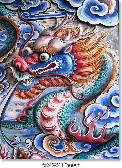 Free art print of Chinese Dragon . Colorful Chinese Dragon on wall ...