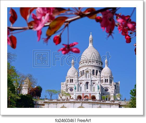art print  sacre coeur cathedral  spring time