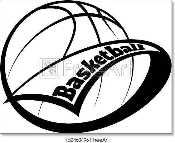 free art print of basketball pennant with text stylized basketball