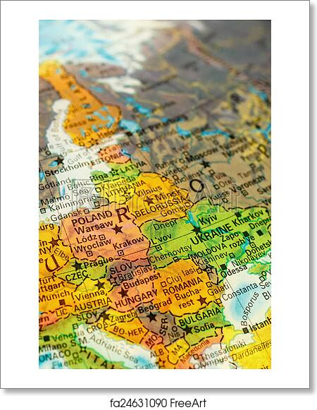 Capital Of Poland Map.Free Art Print Of Map Of Poland Map Of Poland Selective Focus On