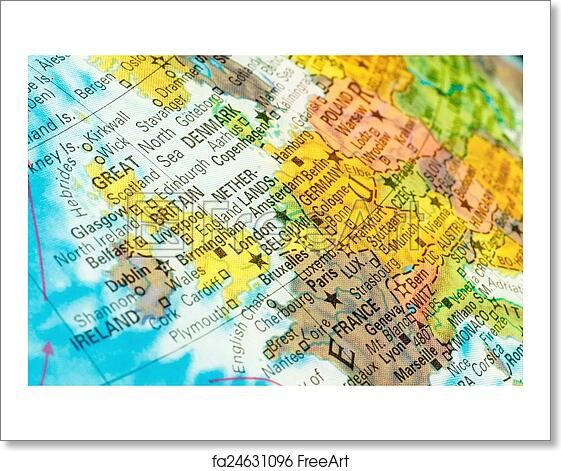 free art print of map netherlands belgium close up image