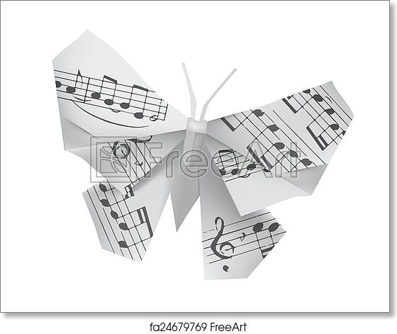Free Art Print Of Origami Butterfly With Musical Note Origami Paper