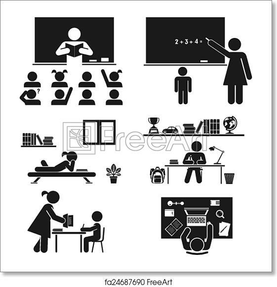 Free art print of School days  Pictogram icon set