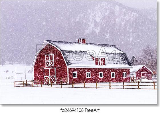 Free Art Print Of Red Barn In The Snow