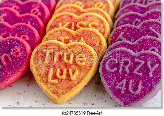Free Art Print Of Valentines Day Heart Candy And Cookies Rows Of