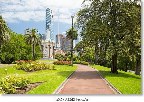 Free Art Print Of Melbourne Skyline Thru Queen Victoria Gardens